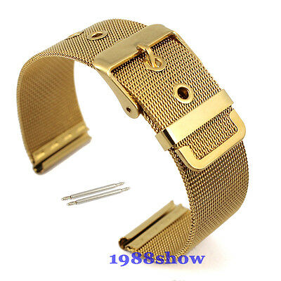New Gold Lug Width 18~22 mm Stainless Steel Watch Mesh Hole Band Bracelet Strap