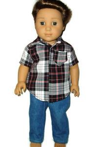 Jeans-amp-Plaid-Shirt-doll-clothes-for-Boys-fits-American-Girl-Boy-dolls-Handmade