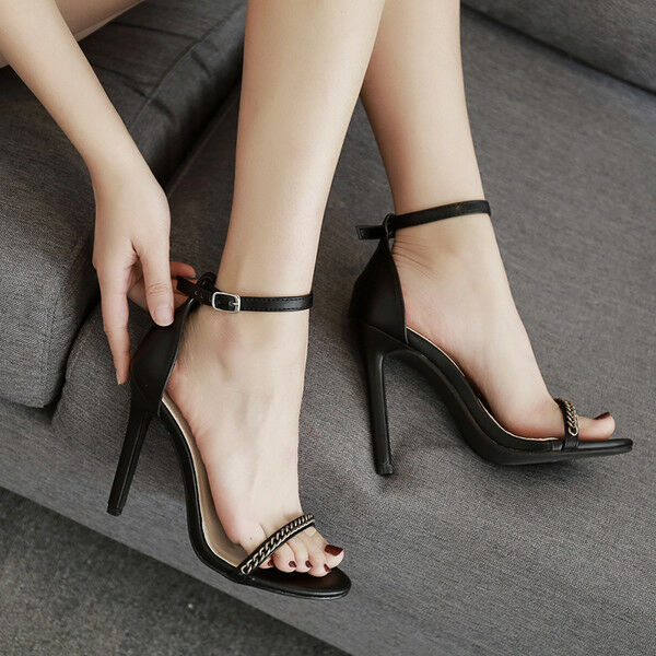 Sandali stiletto eleganti nero tacco 12 cm  nero eleganti oro  simil pelle eleganti 1032 44ce0a
