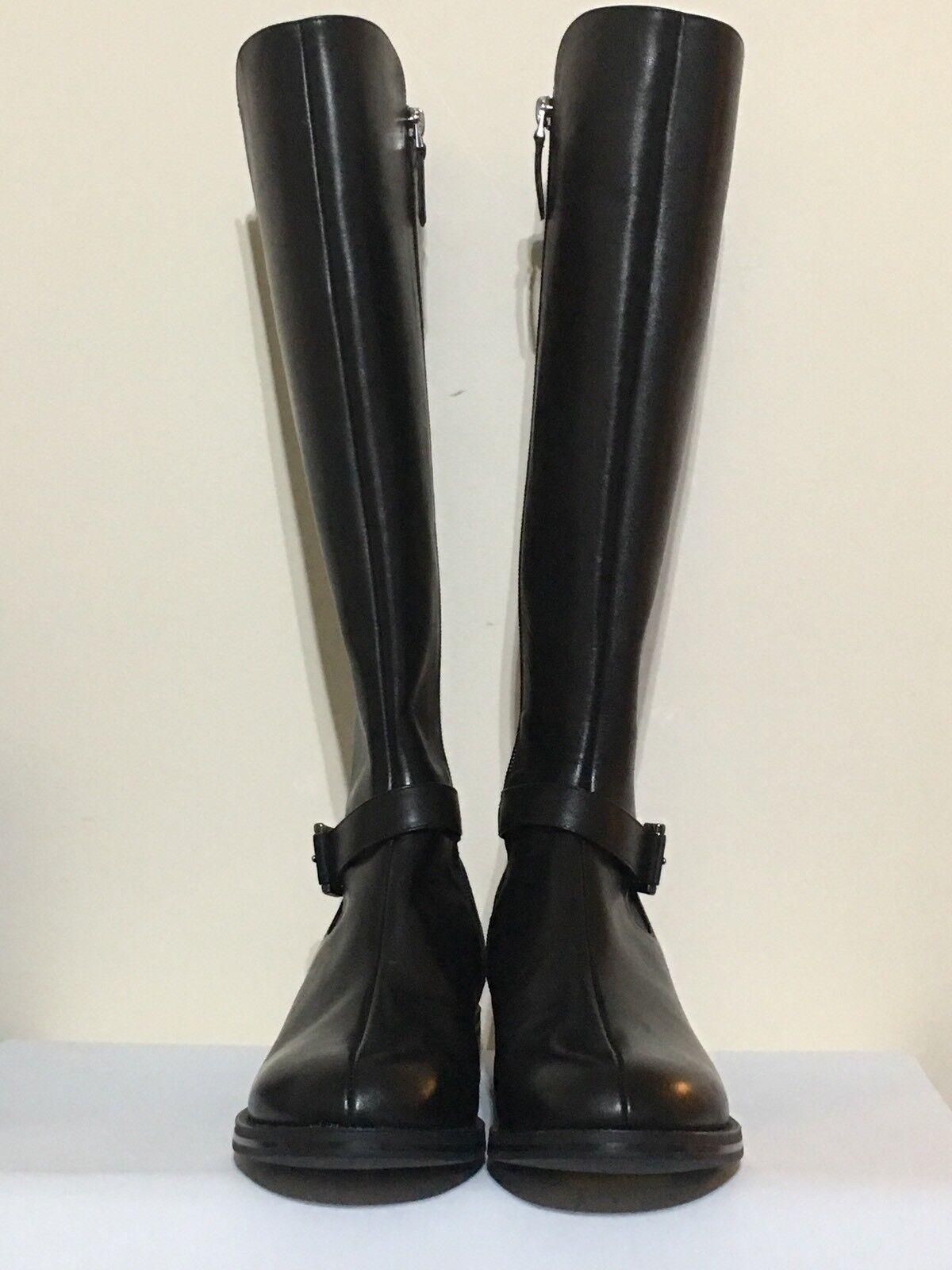 Emporio Armani X30117 Flat Knee High Black Boots UK Size 3, Eu 36, US 5.5