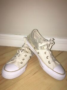 0ebfb49373690 Details about Converse All Star Chuck Taylor Madison Low Top Glitter Gold &  Canvas - Women's 6