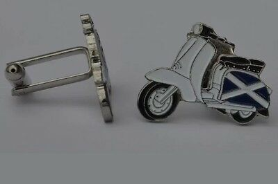 Scooter Cufflinks With Scottish Flag With Box - MOD Vespa Wedding Present