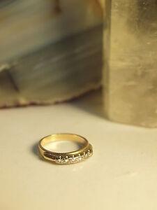 GENUINE-SOLID-9CT-YELLOW-GOLD-LADIES-DRESS-ROW-DIAMOND-RING-SIZE-K-15-90-MM