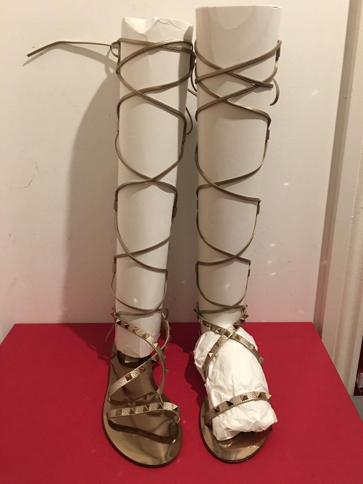 VALENTINO GARAVANI Rockstud Knee Length Gladiator Sandales UK 4/EU 37