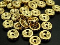 24 Unique Czechoslovakian Metallic Rondelles 8mm Gold On Gold