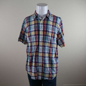 Nautica-Multicolor-Short-Sleeve-Button-Front-Linen-Cotton-Plaid-Shirt-Mens-Large