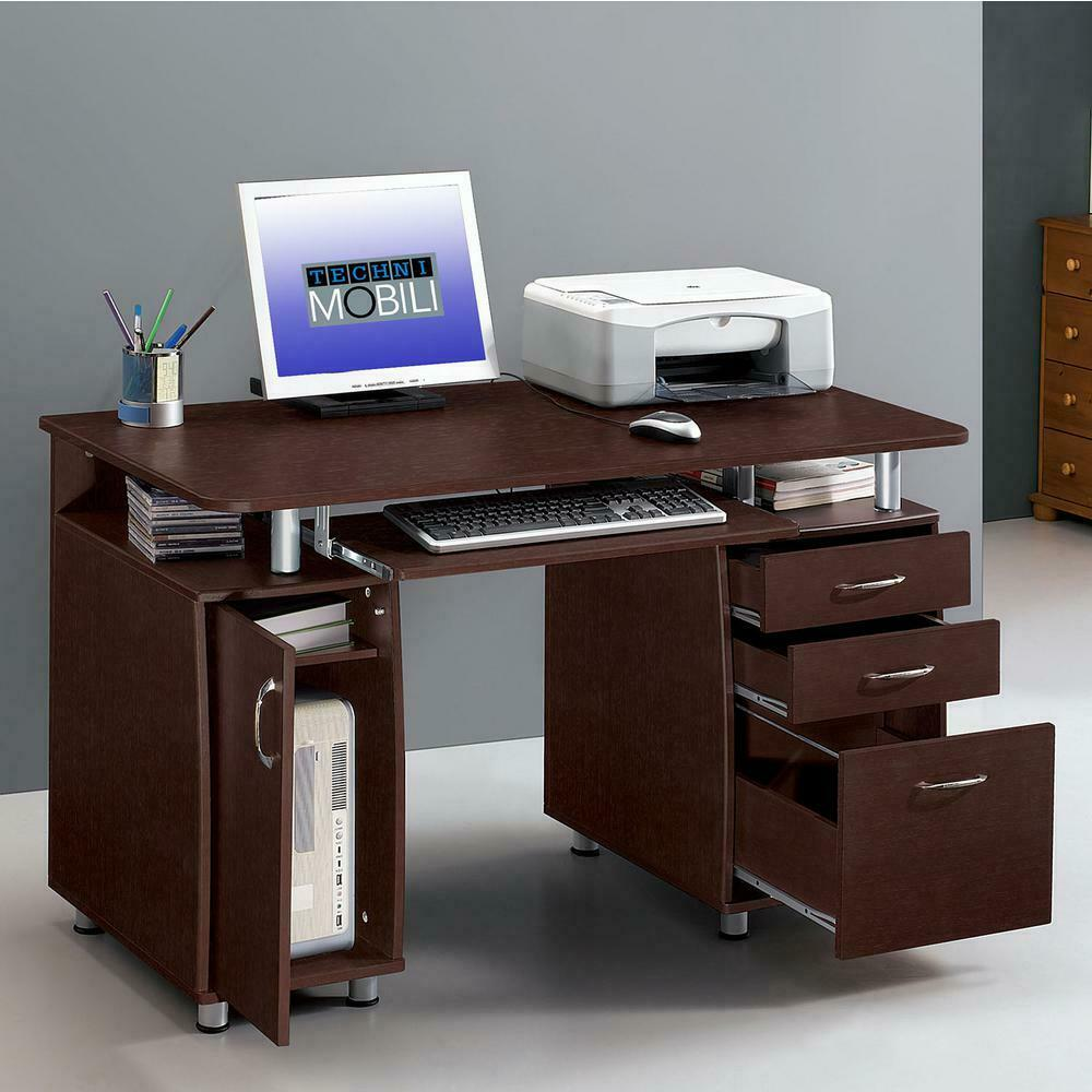 Home Workstation Office Computer Desk with Cabinet and Drawer Bedroom  Storage