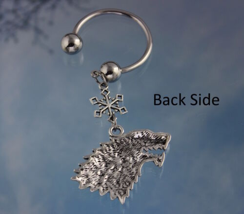House Stark Game of Thrones Inspired Key Chain Direwolf and Snowflake Key Ring