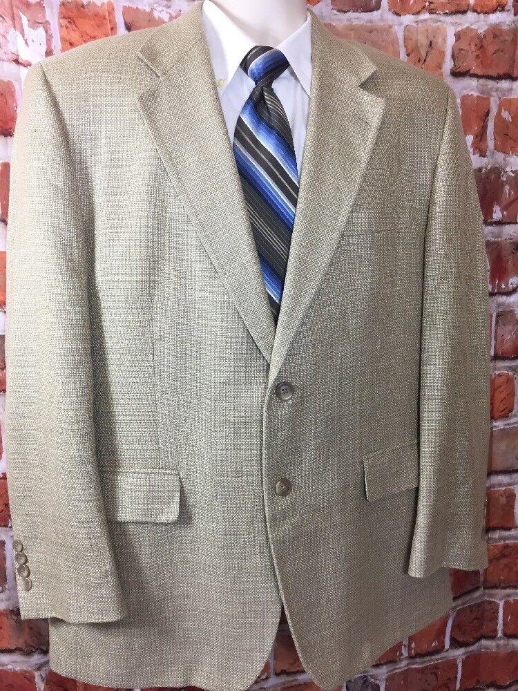 Chaps Mens Beige 100% Silk 2-button Blazer Sportscoat Sz 42R (t4)