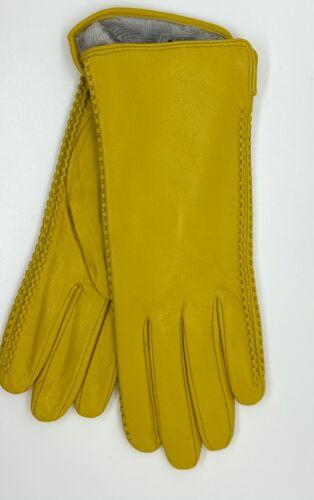 taille L joliment Doublé Cuir véritable Femmes Gants en cuir lumière jaune moutarde