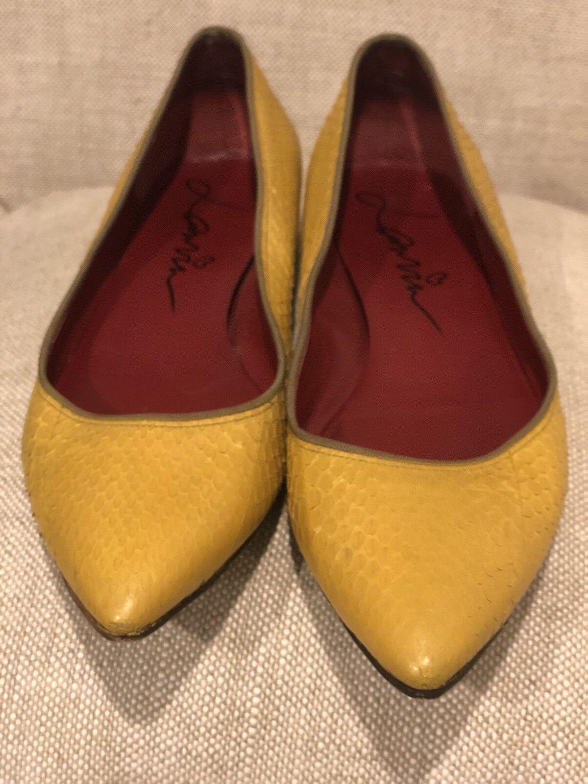 Lanvin Flats Pointed Toe Mustard Snakeskin 38