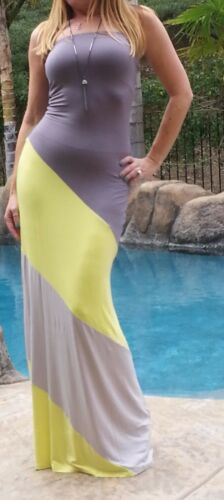 Maya Antonia-PLUS SIZE-Slimming Strapless Yellow-Grey Maxi Dress,Extra long
