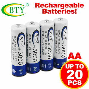 4-20pcs BTY AA rechargeable batterie Ni-MH 1.2V 3000mAh Bleu pile