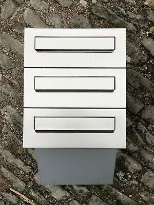 3x Einbaubriefkästen Edelstahl//Silber NEU 3-fach vorbereitet V2A Mauerdurchwurf