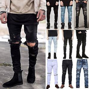 Men-039-s-Distressed-Ripped-Skinny-Motorcycle-Jeans-Biker-Pants-Slim-Denim-Trousers