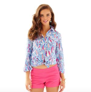 Lilly Pulitzer Cruiser Button Down Shirt rot Right Return Sailboat Print Größe 6
