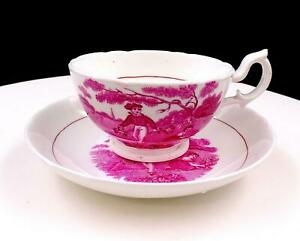 SUNDERLAND-ENGLAND-PINK-TRANSFERWARE-SCENES-2-034-CUP-AND-SAUCER