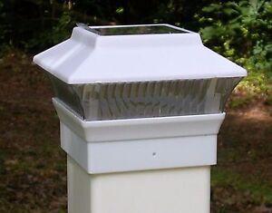 One solar fence cap led post light for 4x4 pvc vinyl posts white image is loading one solar fence cap led post light for aloadofball Gallery