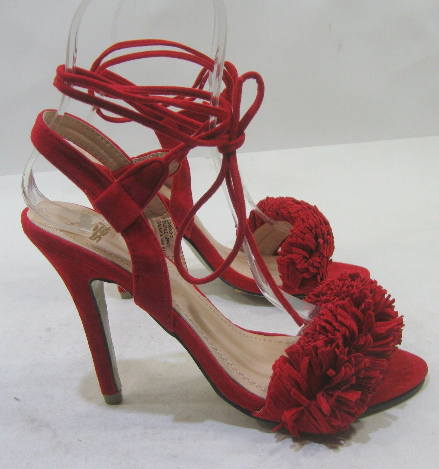NEW LADIES Red 4.5  Stiletto High Heel Open Toe Tie Up Sexy shoes Size 9.5