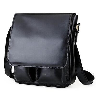 Black Men's Genuine Leather Shoulder Messenger Cross Body Bag School Bag SATCHEL