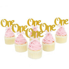 6 Pcs 1st Birthday Balloons Cake Cupcake Topper Gold Pink Blue Sparkle Boy Girl