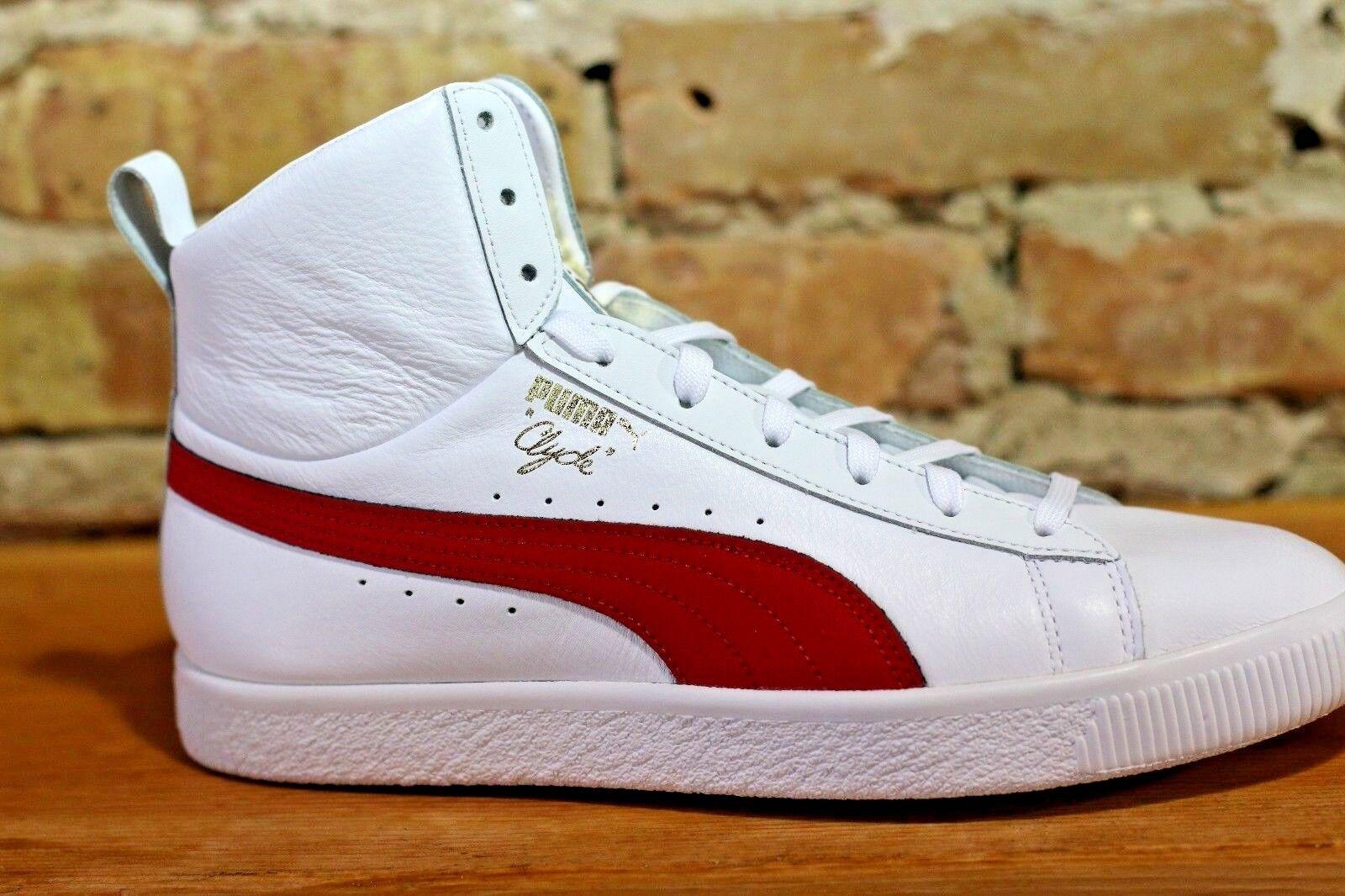 Puma Uomo Shoes White White White Pelle Clyde Core Mid - Classics Fashion and Sports 7a60d8