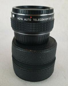 HOYA-AUTO-TELECONVERTER-2X-MULTICOATED-WITH-CASE-CAMERA-SLR-LENS-PHOTOGRAPHY
