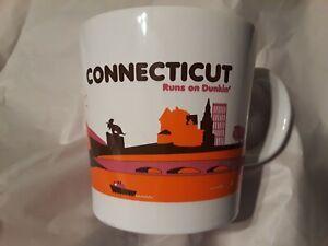 Dunkin Donuts Connecticut Runs on Dunkin Coffee Mug Cup 2012 CT White Orange
