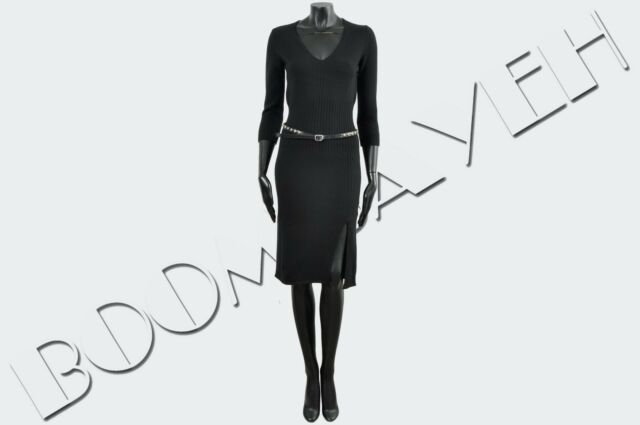 DSQUARED2 1000$ Authentic New Black Wool Dress With Studded Leather Belt