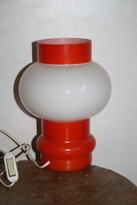 LAMPE-de-TABLE-DESIGN-60-70-OPALINE-ORANGE-BLANCHE-vintage