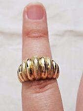 Vintage 10K Yellow Gold Size 7 SAK Engraved Matte Lines Band Ring,Estate Jewelry