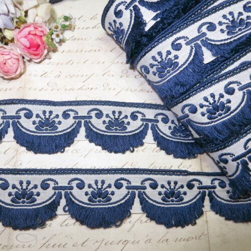 1yd VTG MIDNIGHT NAVY BLUE FRENCH JACQUARD TRIM FRINGE DRESS DOLLHOUSE HAT ANTIQ
