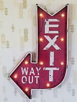 Lighted Red Metal Curved Arrow Exit Sign Wall Decor
