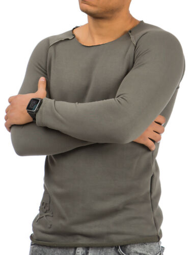 Sweatshirt Longsleeve Herren Langarmshirt Pullover Tazzio Shirt Pulli Meliert