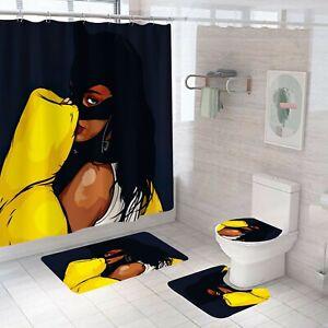 Cat-Woman-Bathroom-Rug-Set-Shower-Curtain-Thick-Soft-Bath-Mat-Toilet-Lid-Cover