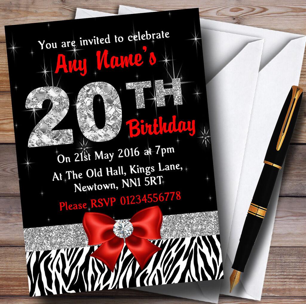 Losange rouge et zébré 20ème anniversaire party personnalisées invitations personnalisées party 430a5f