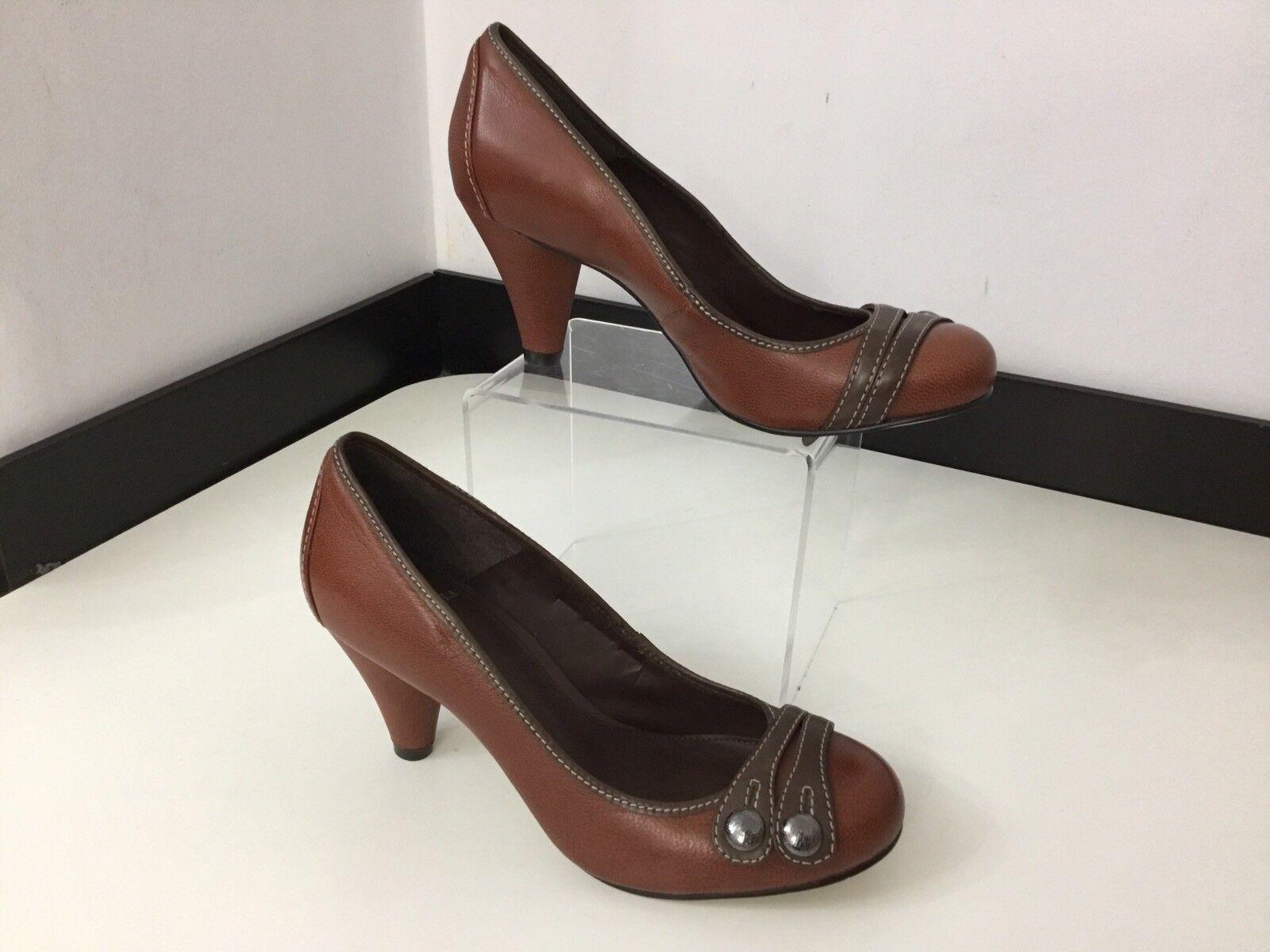 CARVELA By Kurt Geiger Kg NEW BNWOB brown Leather Court shoes Heels Size 37 Uk 4