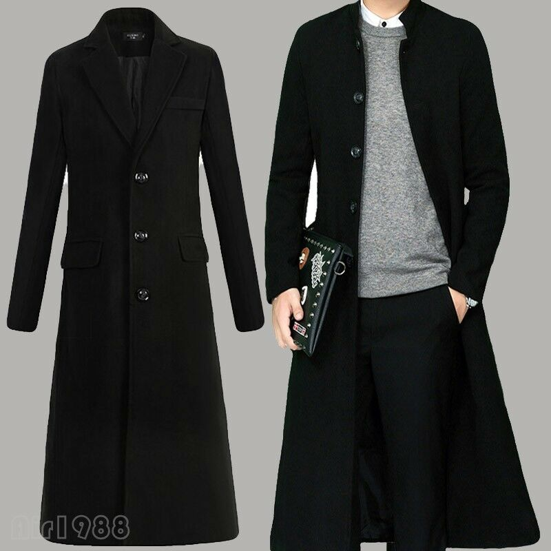 Hot Full Winter Men's Wool Blend Single Breasted Knee Length Parka Trench Coat