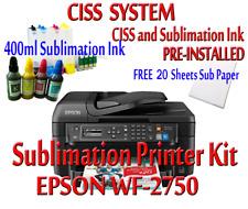 Epson WF-2750 Sublimation Printer Bundle,CISS Kit, Sublimation Ink &  Paper