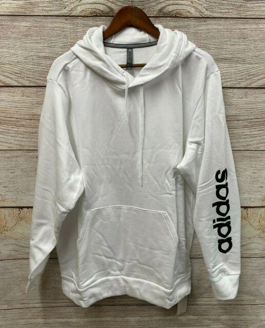 pago lotería Merecer  Mens adidas Fleece Hoodie Fl4833 White XL for sale online | eBay