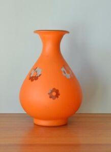 Retro-Glass-Spanish-vase-orange-kitsch-large-flowers-3195