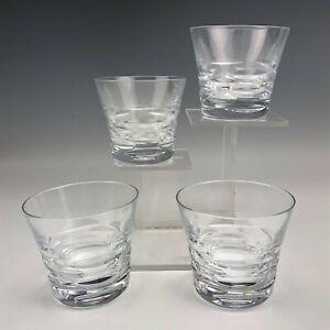 Set-Four-4-Baccarat-Crystal-Modernist-Double-Old-Fashioned-Tumbler-Glasses-NAT