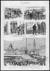 1886-Antique-Print-LONDON-West-End-Rioting-Trafalgar-Square-St-Pauls-239