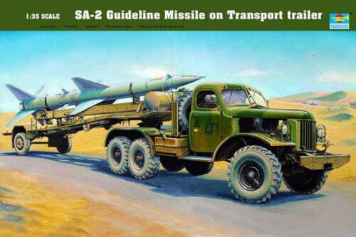 00204 Trumpeter 1 35 Model SA-2 Guideline Missile on Transport Trailer Vehicle