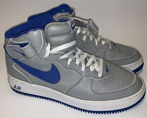 0f9aea1f7 Nike Air Force 1 Mid Med Gray Royal Blue 304096-041 Men s Size 10 ...