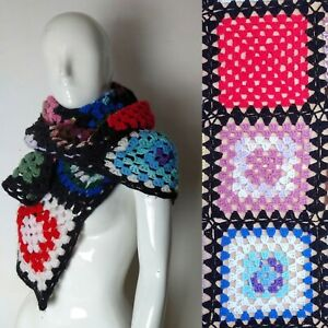 Small Hand Knitted Wool Crocheted Multi-coloured Black Border Blanket