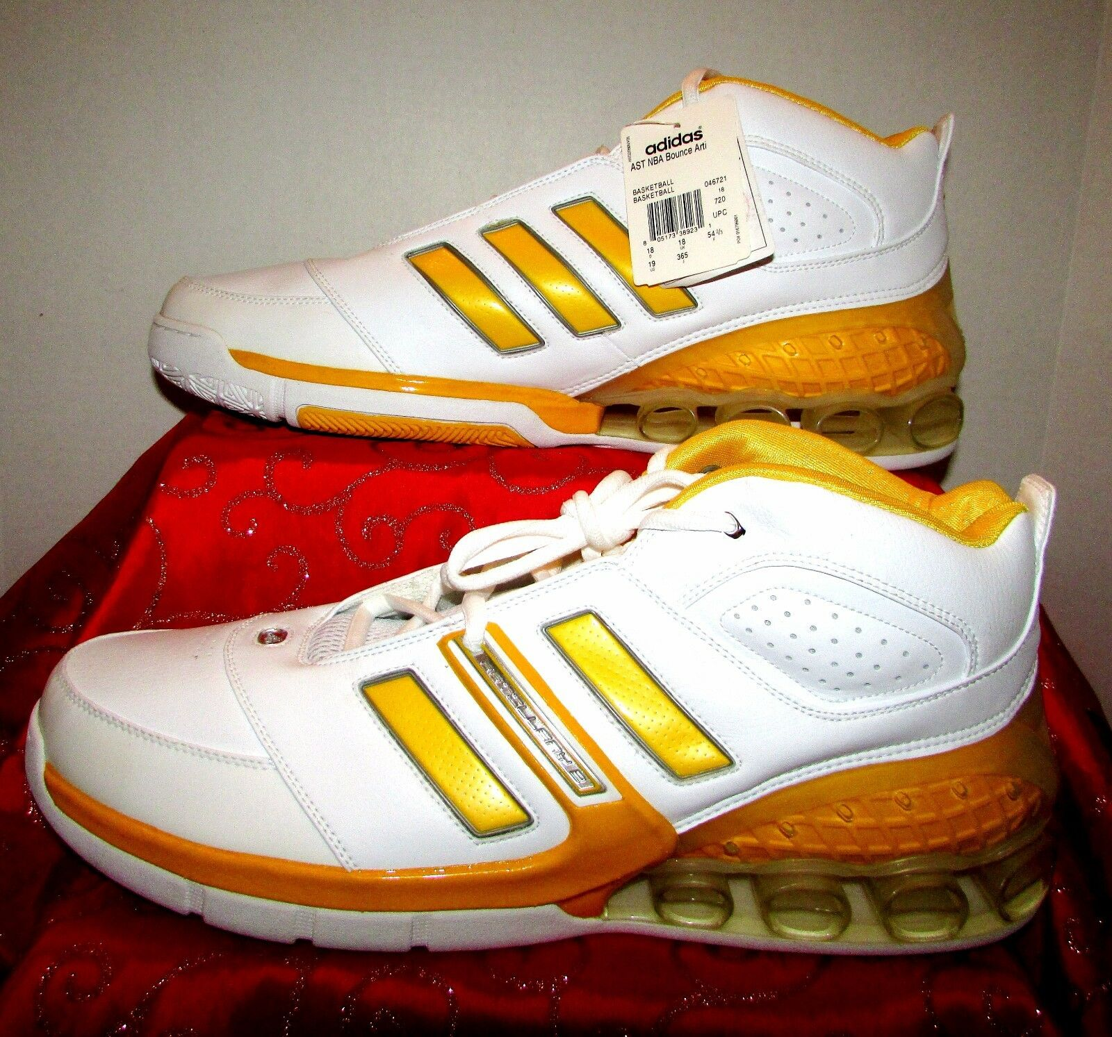 NEW ADIDAS AST ARTILLERY 2 ARTI NBA BOUNCE YELLOW/WHITE BASKETBALL SHOES SIZE 19