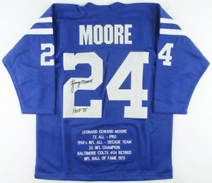 Lenny Moore Signed and Inscribed Colts Career Highlight Stat Jersey (JSA COA)NFL