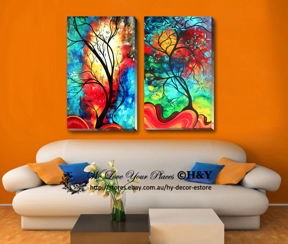 2 30x50x3cm Abstract Colour Tree Framed Canvas Print Wall Art Decor Painting