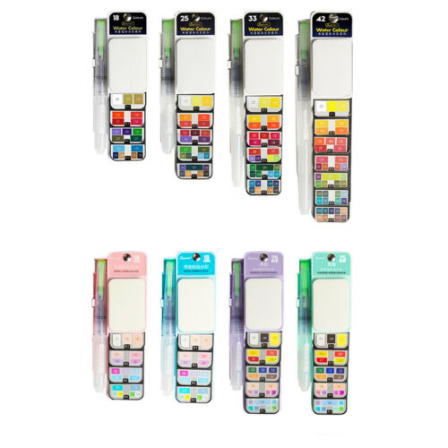 Sponge Foldable Watercolor Paint Set 42 Colors with 1 Watercolor Brushes Pens